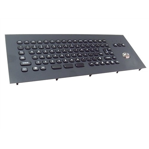 KBS-PC-MINI2-EXT-BL Compact Black Stainless Steel Keyboard with Trackball and FN keys