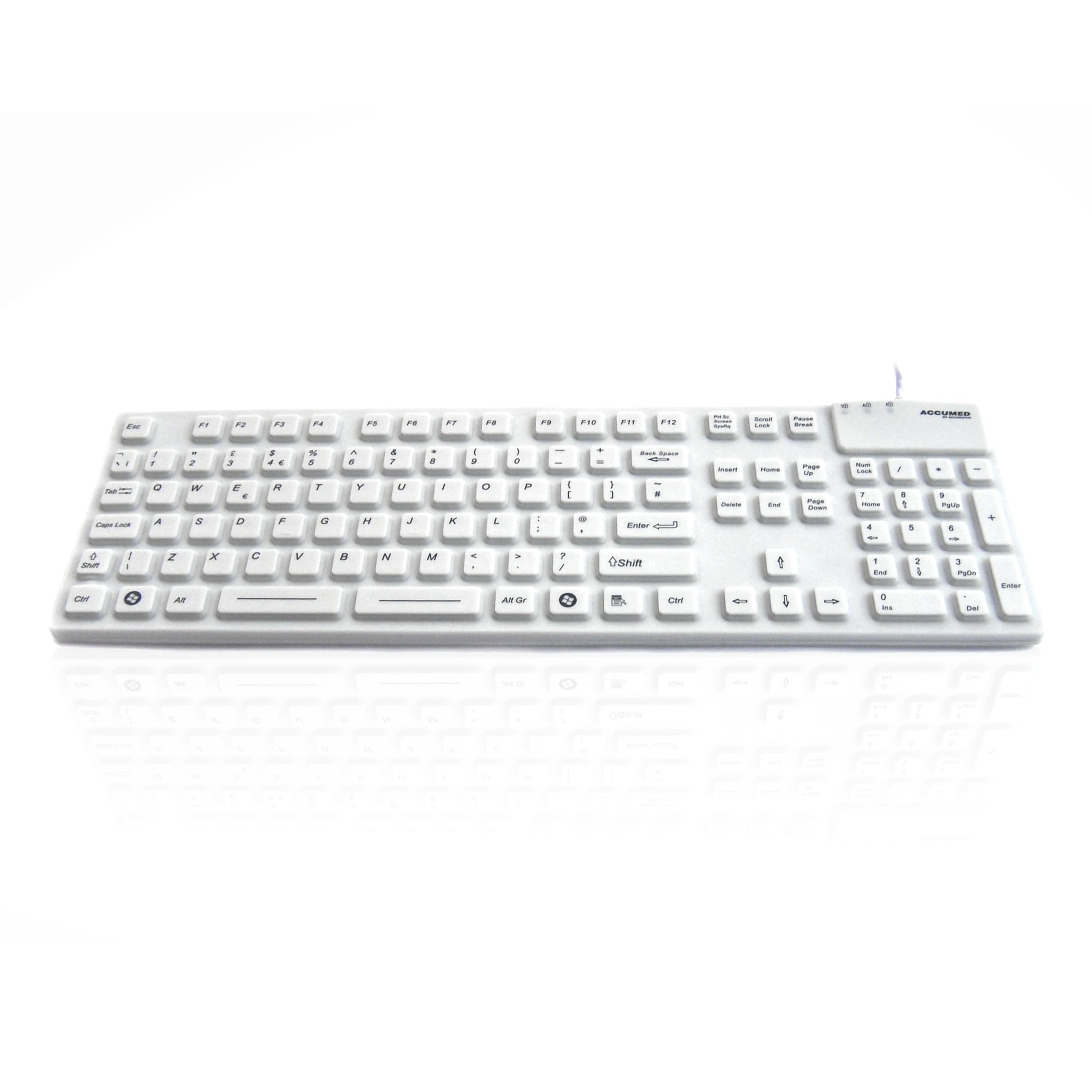 AccuMed 105 Medical/Industrial Waterproof White Keyboard