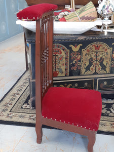 Red velvet prayer chair - 1900's