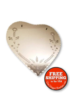 15in x 15in Heart Hanging Beveled Mirror with Frosted Embellishments - Home Decor