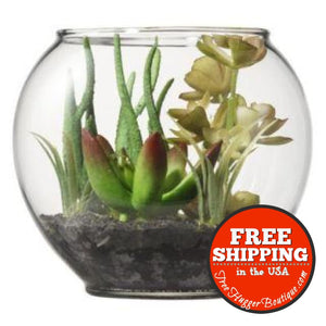 3.75In Threshold Glass Terrarium With Artificial Succulents - Artificial Plants