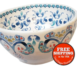 Anthropologie Cereal Bowl Blue Paisley - cereal bowl