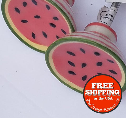 New Set Of Two Anthropologie Ceramic Fruit Picnic Knobs In Watermelon Motif - Hardware