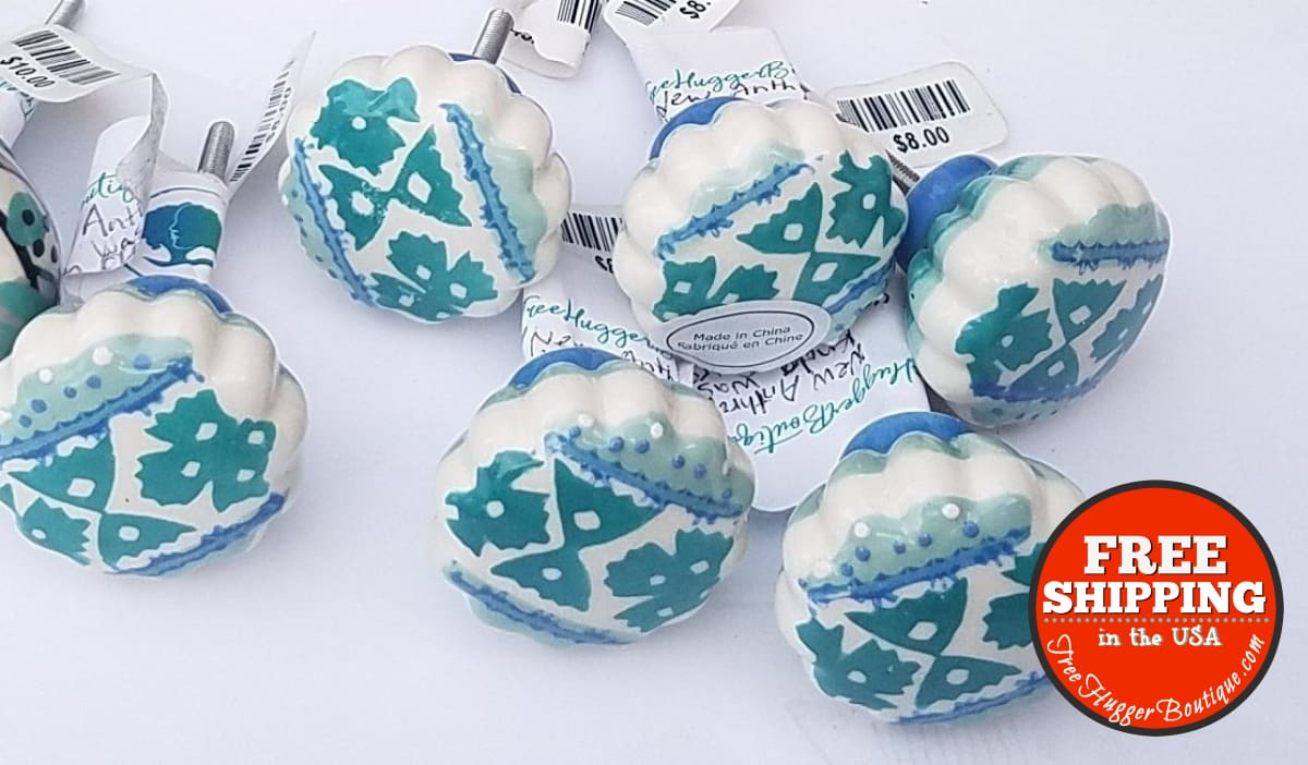 Six New Anthropologie Ceramic Drawer Knobs In Blue Teal And White With Scalloped Edges - Hardware