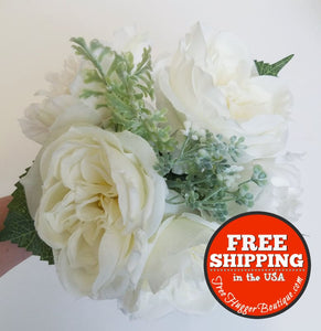 White/ivory Rose 8In Bouquet For Home Decor Centerpieces Bridesmaids - Floral Arrangement