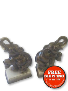 Mid Century Ceramic Elephant Book Ends