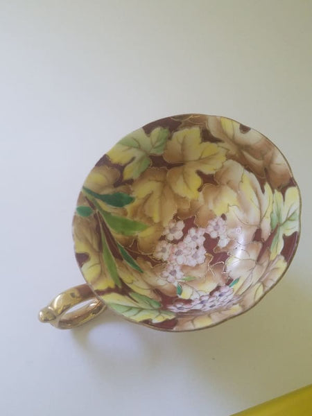 Saji Fancy Hand Painted China Tea Cup Gold Outside And Floral Inside