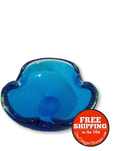 60s Blue Art Glass Ashtray or Trinket Dish Catch All - art glass