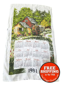 1981 Calendar Kitchen Hand Towel with Cabin - kitchen towel