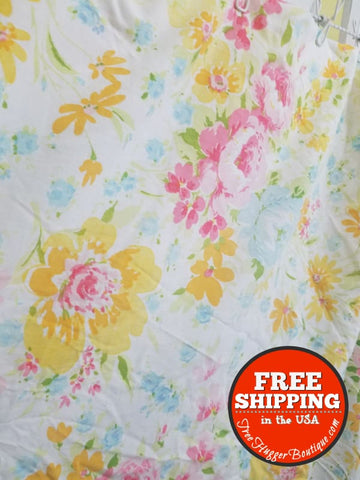 Vintage Montgomery Ward Fitted Double Size Floral Sheet - sheet