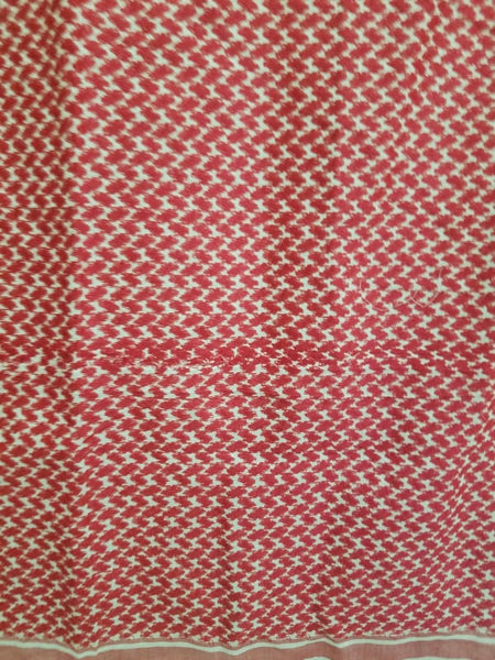 Vintage Red/White Tablecloth with Tassels - Tablecloth