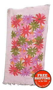 Pink Flower Power Hand Towel - bathroom towel