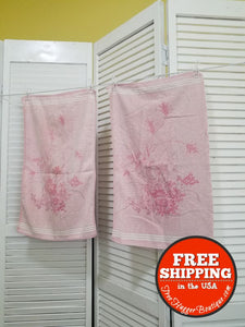 Vintage Set of 2 Cannon Brand Pink Rose Hand Towels - bathroom towel