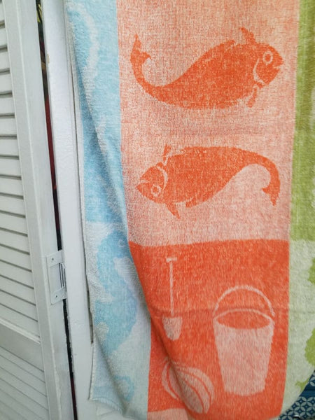 Vintage Indanthrep Colorful Bath or Beach Towels Set of Two - bathroom towel