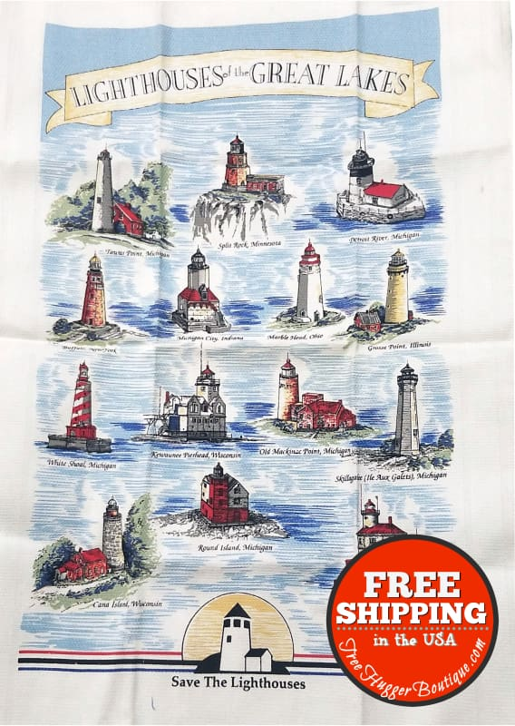 Kitchen Hand Towel with Light Houses nautical ocean sea - kitchen towel