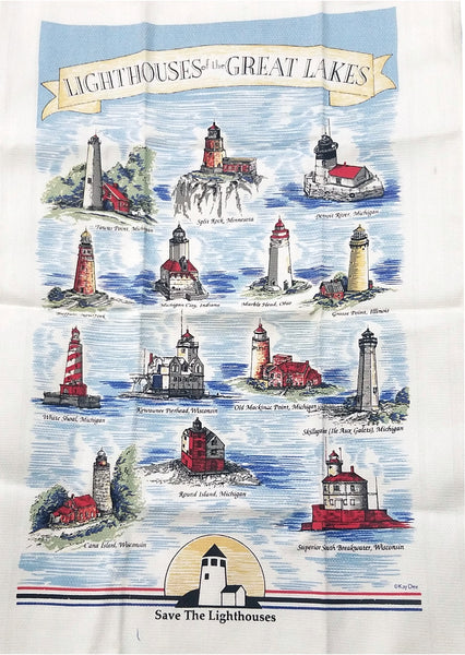 Kitchen Hand Towel Light Houses of the Great Lakes, nautical/ocean/sea
