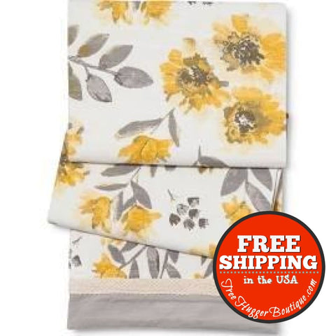 Threshold Yellow & Gray Floral Extra Long Table Runner 14 X 72 100% Cotton Machine Wash Cold - Table Runner