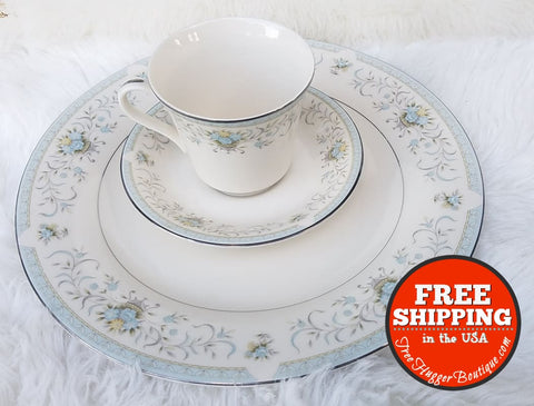 3Pcs Blue Versailles American Royalty 8104 Very Fine Porcelain Tea Cup Saucer Plate Set - Home Decor