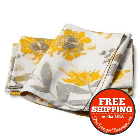 Threshold New Floral Napkin Yellow And Gray (Set Of 4) - Napkins