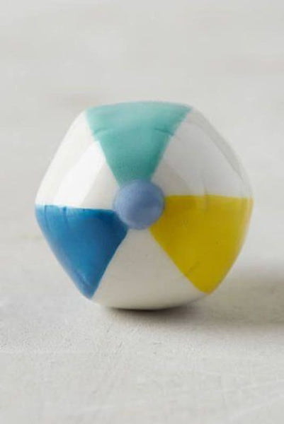 New Anthropologie Beach Ball Knob In White Aqua Blue And Yellow - Hardware