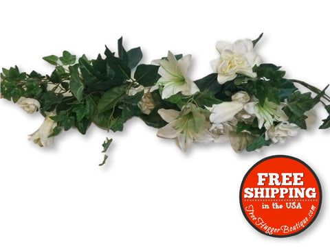 24in Artificial White Lily Garland - decor