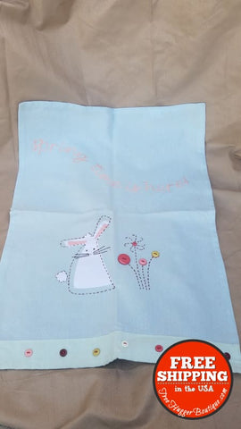 Spring Embellished And Embroidered Kitchen Towel With Bunny By Tag - Kitchen Towel