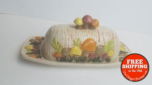 Vintage Mushroom Ceramic Butter Dish With Lid In Brown Orange Yellow Mauve - Food Storage