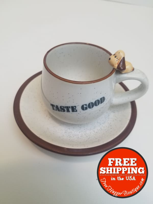 Vintage Cup And Saucer Taste Good With Mini Dog Espresso Or Tea - Tea Cup