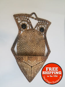 Vintage Basket Woven Owl Wall Pocket - Organizer