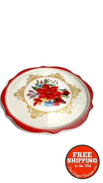 The Pioneer Woman Poinsettia Bouquet 10.4-Inch Cake Plate - Cookware