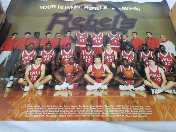 Poster Of 1990 Unlv Rebels Basketball Championship Team - Sports Memorabilia