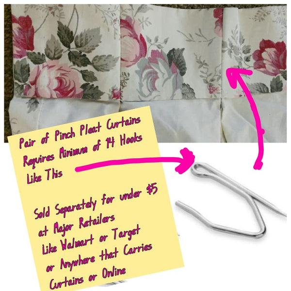 Vintage Set of Four Mid Century Pink Rose Curtains - Curtains