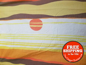 Vintage King 2pc Sheet Set Sunset Orange Nautical Ocean Sheet Set No Iron Percale - Sheet Set