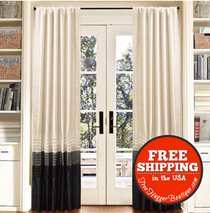 84-Inch Curtain Panel Pair Lush Decor Mia In Eggshell White Silver Black (Used) - Home Decor