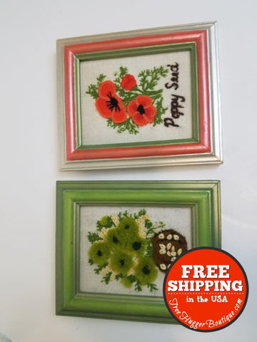 Set Of Two Handmade Mini Floral Embroidery Wall Art - Art