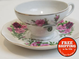 Fine China Tea Cup And Saucer With Mauve Roses By Gracie China - Tea Cup