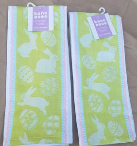 New Set Of Two Kane Home Easter Kitchen Towels In Pastel Green - Kitchen Towel