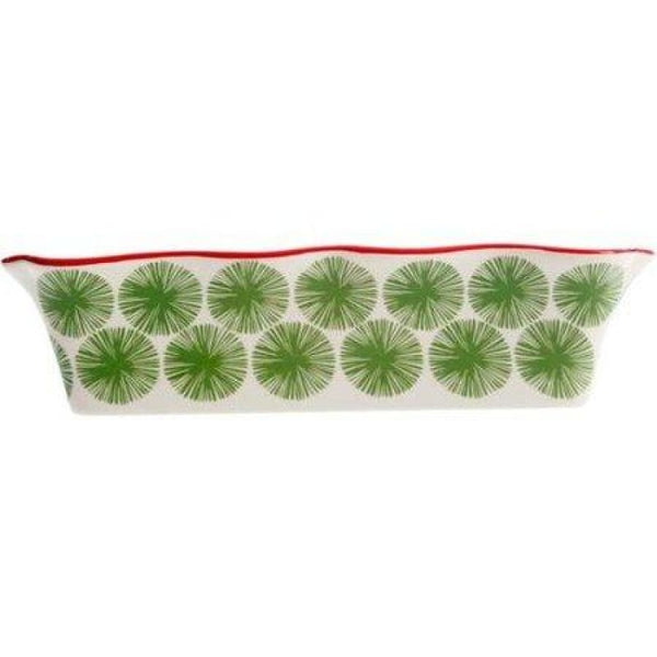 Pioneer Woman Poinsettia Decorated Rectangular Ruffle-Top Bakeware Casserole 2.3qt - Cookware