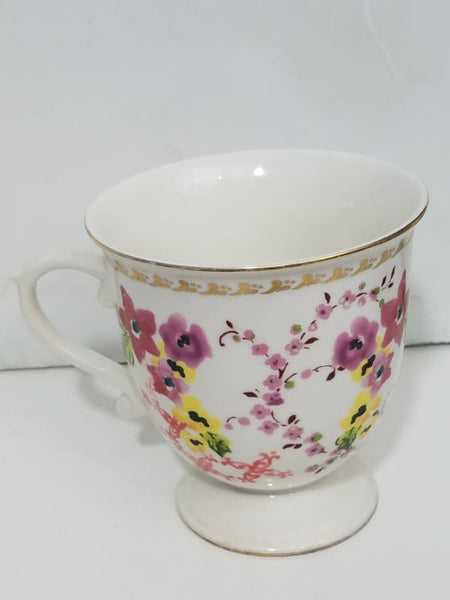 Anthropologie Floral Gold Rim Pedestal Mug Coffee Or Teacup - Kitchen