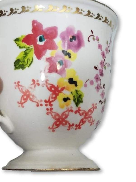 Anthropologie Floral Gold Rim Pedestal Mug Coffee Or Teacup 4.25in x 3in - Kitchen