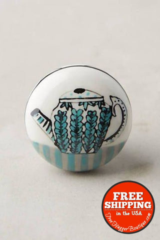 New Anthropologie Ceramic Teatime Knob Blue Teapot - Hardware