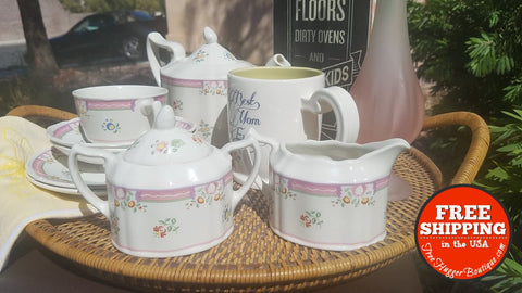 8 Pieces! Laura Ashley Tea Pot & Cups Alice Set 8Pcs (Please Read) - Home Decor