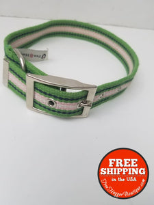 Medium Striped Quality Dog Collar By Fox & Hound 21.5In Blue/green/pink/white - Pet Supplies