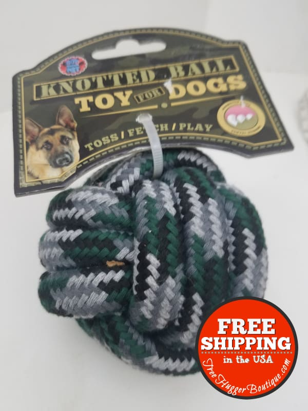 New 3.5In Knotted Ball Toy For Dogs By Bow Wow Pet Blue/green/gray - Pet Supplies