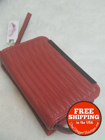 New Jessica Simpson Smartphone Wallet Brick Red/burnt Red-Orange Style Js13642 - Wallets