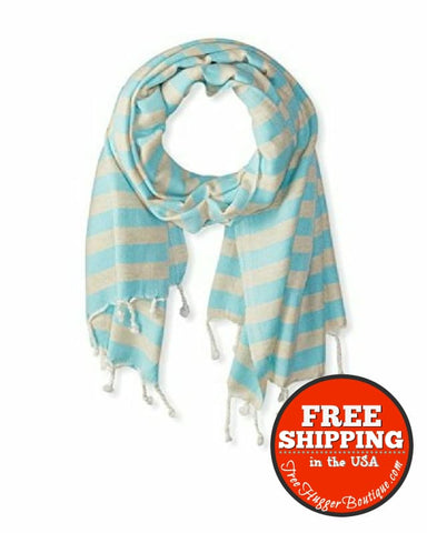 New Nomadic Thread Society Turkish Throw And Shawl In Beige/turquoise 35X71 - Womens Scarves