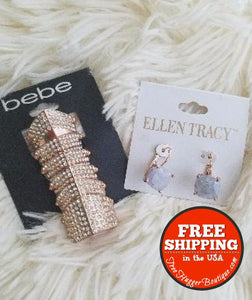New Rose Gold Bebe Fashion Ring And Ellen Tracy Earrings - Jewelry Bundles