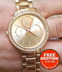 New Unbranded Womens Watch Rose Gold Round Crystal Embellished Analog - Watches