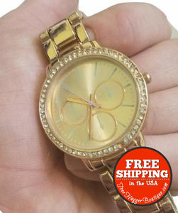New Unbranded Womens Watch Yellow Gold Round Crystal Embellished Analog - Watches