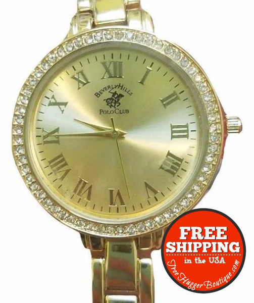 New Womens Beverly Hills Watch Gold Tone Round Face And Crystal Embellished - Watches